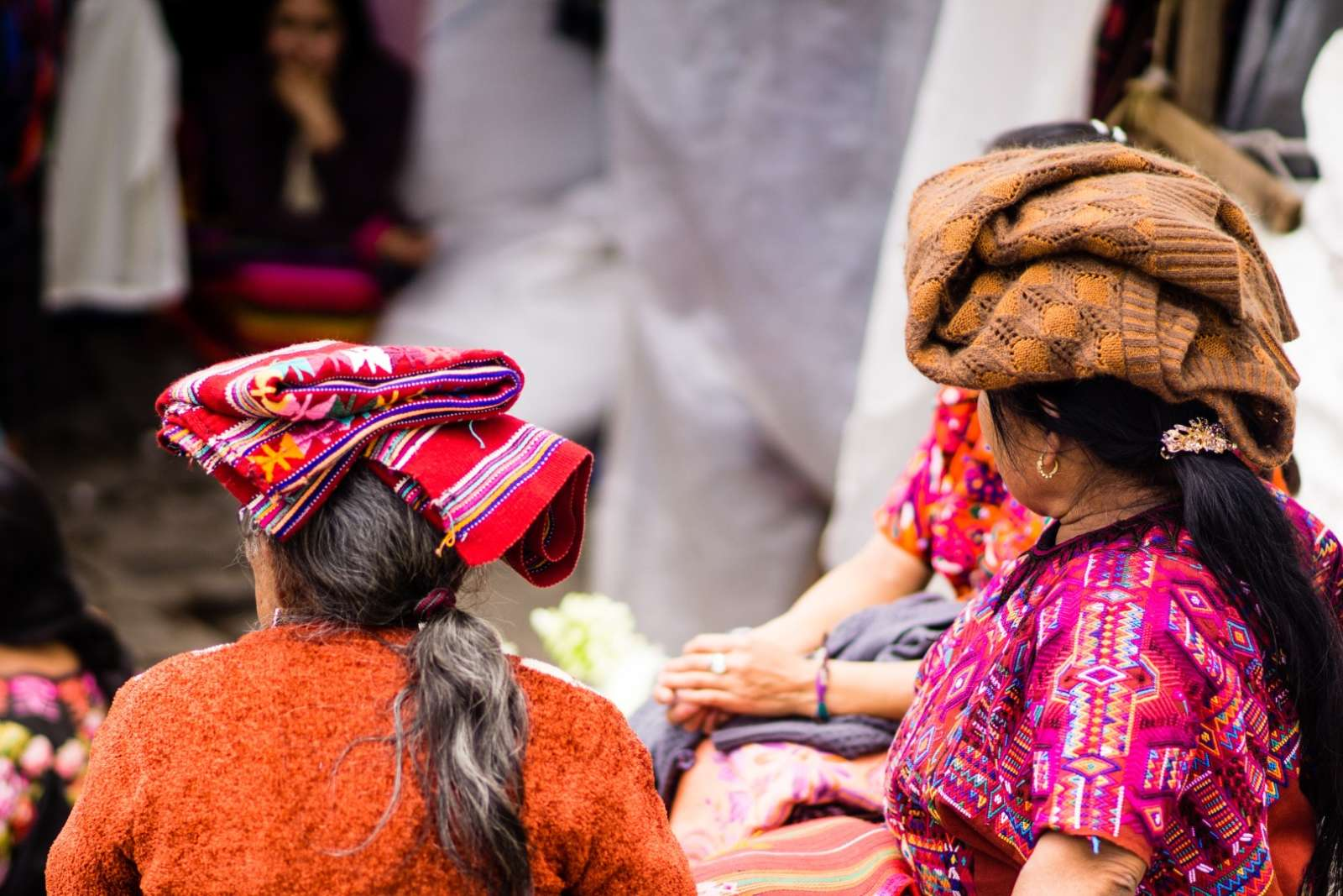 Women with blankets on heads at Chichicastenango, Guatemala