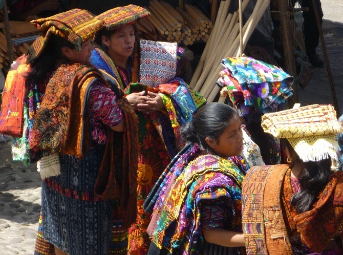 Mayan women trading at the Chichicastenango market in Guatemala