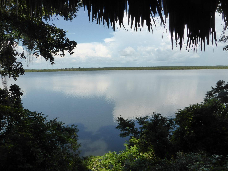 View of lake from Chiminos Island Lodge at Petexbatun
