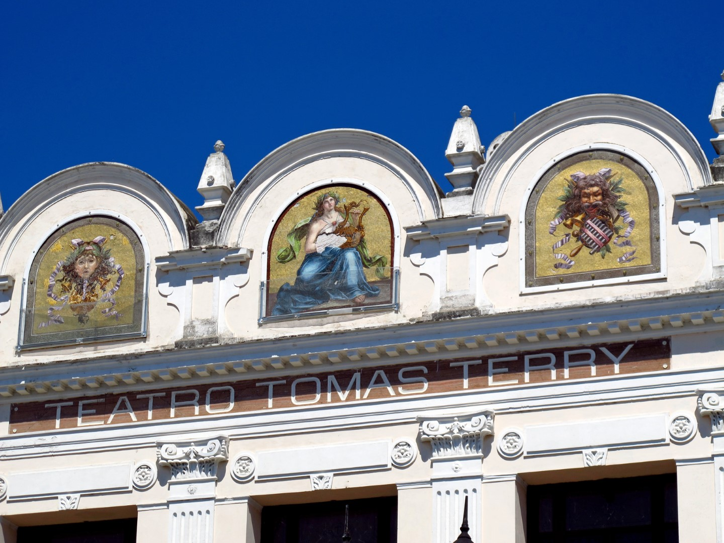 The Teatro Tomas Terry sign in Cienfuegos, Cuba