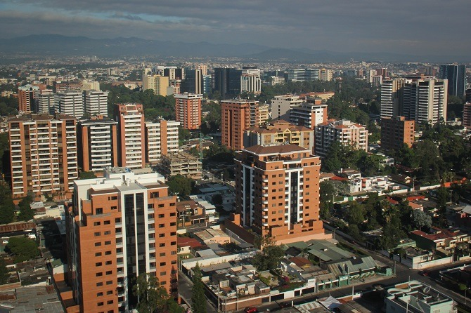 An aerial view of Guatemala City