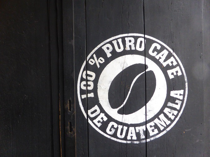 A coffee sign in Antigua, Guatemala