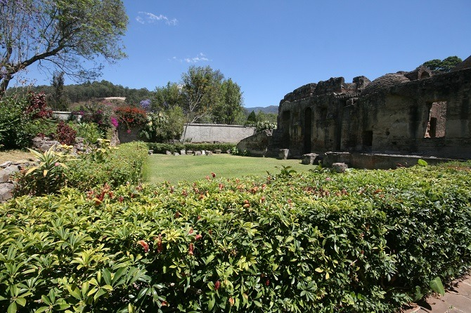 The gardens at Convento de las Capuchinas in Antigua, Guatemala