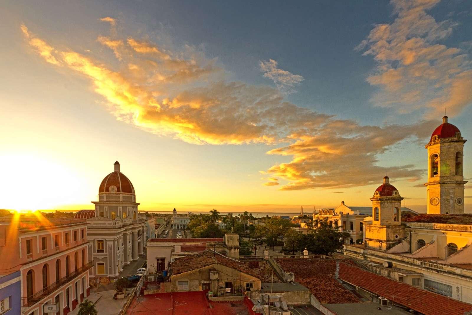Sunset over Parque Central in Cienfuegos Cuba