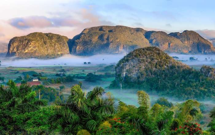 The Vinales Valley in Cuba shrouded in mist
