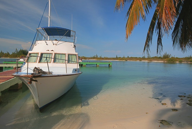 A boat moored up in Cayo Largo, Cuba