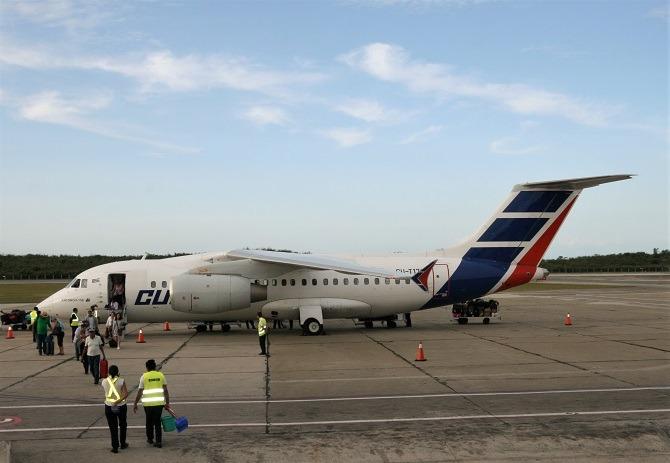 A Cubana Airlines AN 158 at Santiago de Cuba airport