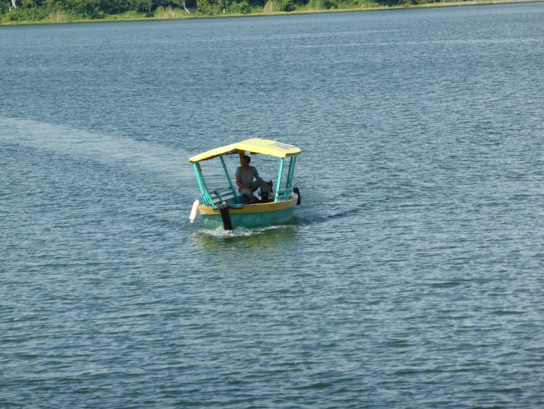 Boat on Lake Peten near Flores, Guatemala