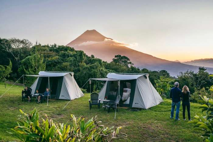 Campsite in Guatemala with view to volcano