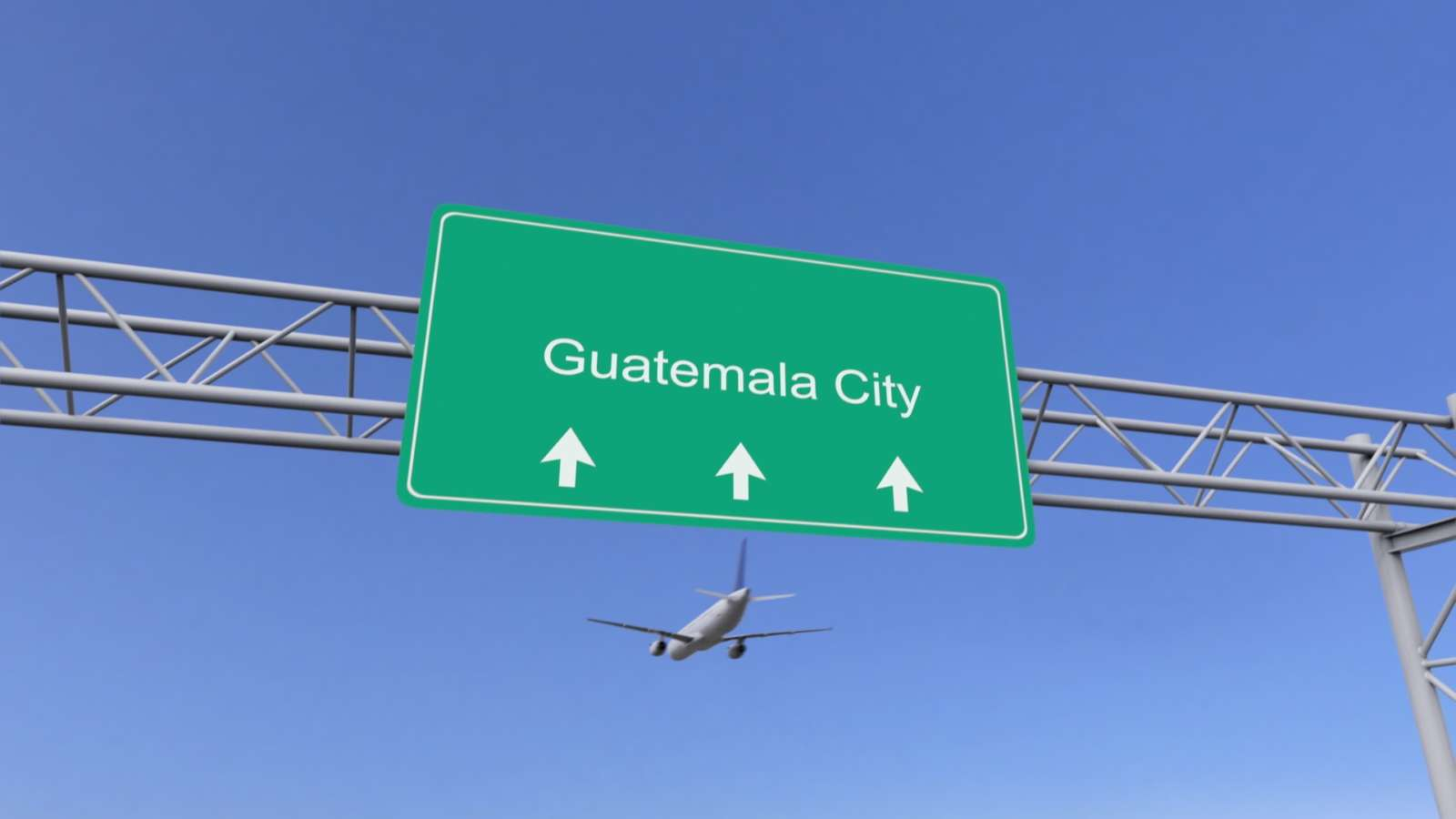 Guatemala City sign with plane