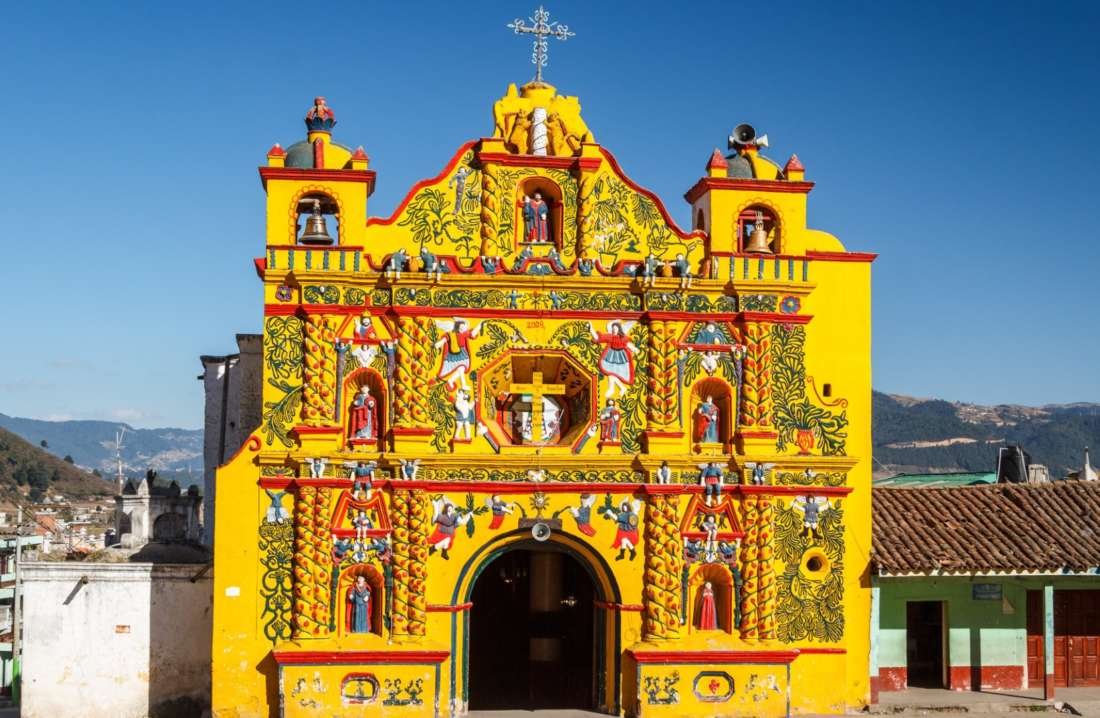 Church Facade In San Andres Xecul Town, Guatemala