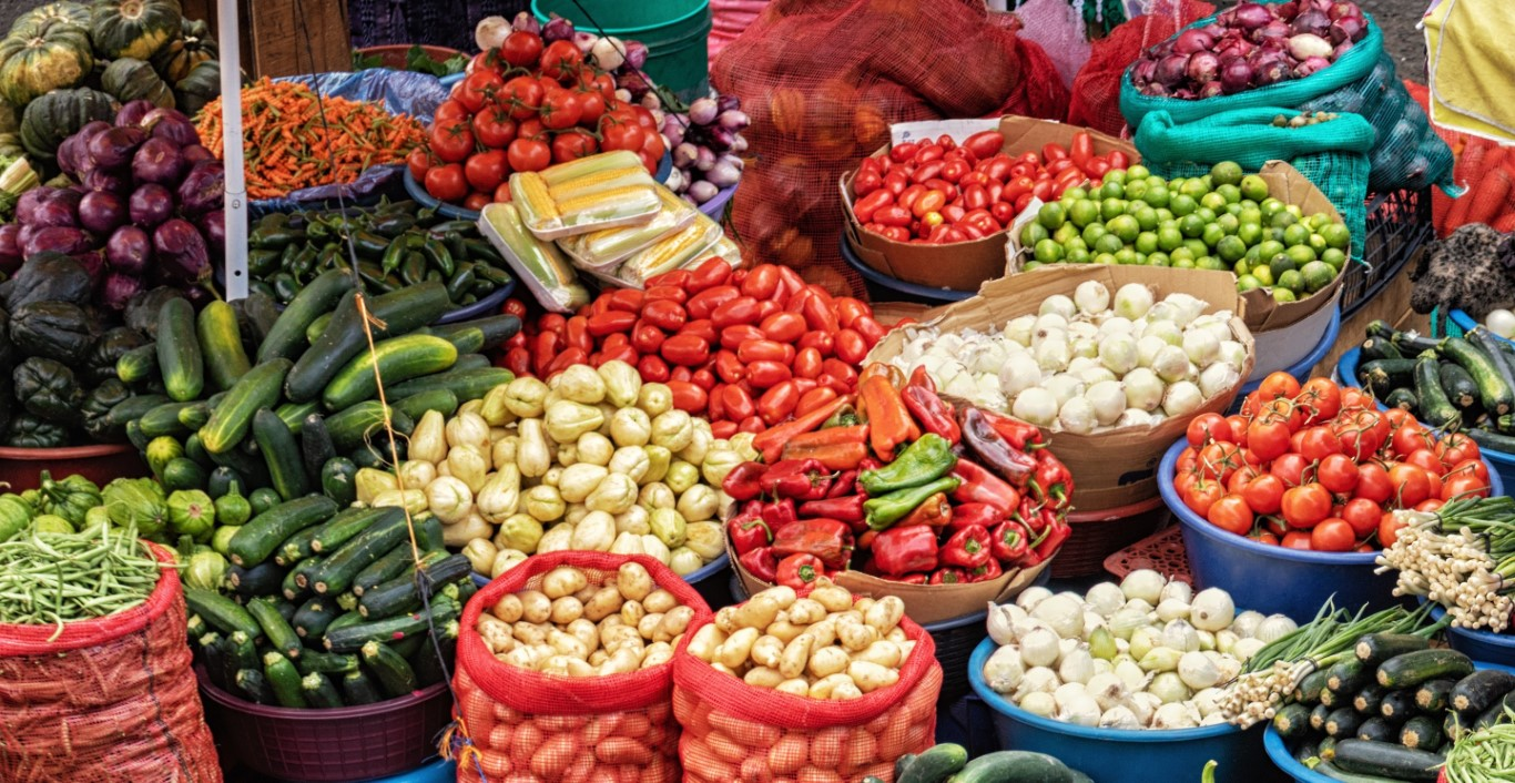 Traditional vegetable market in Guatemala