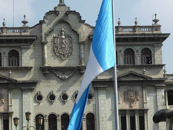 The national flag flying in Guatemala City