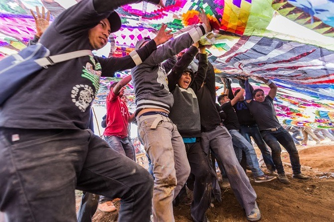 Raising kite in Guatemala
