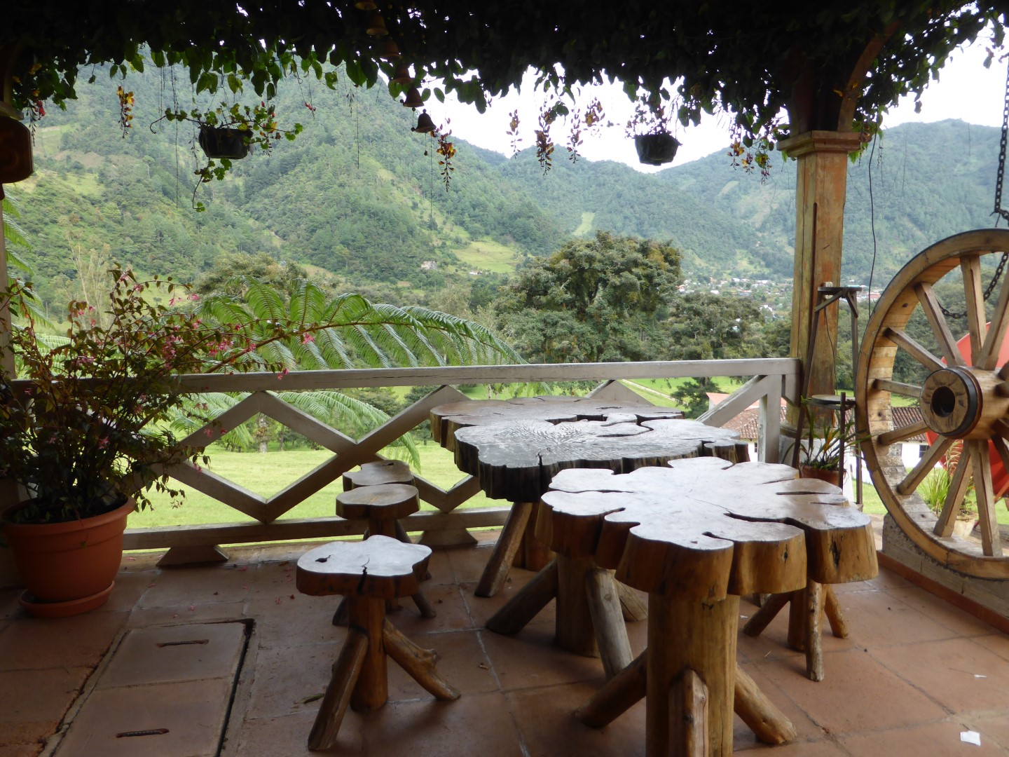 Table with view at Hacienda Mil Amores in Ixil Triangle, Guatemala