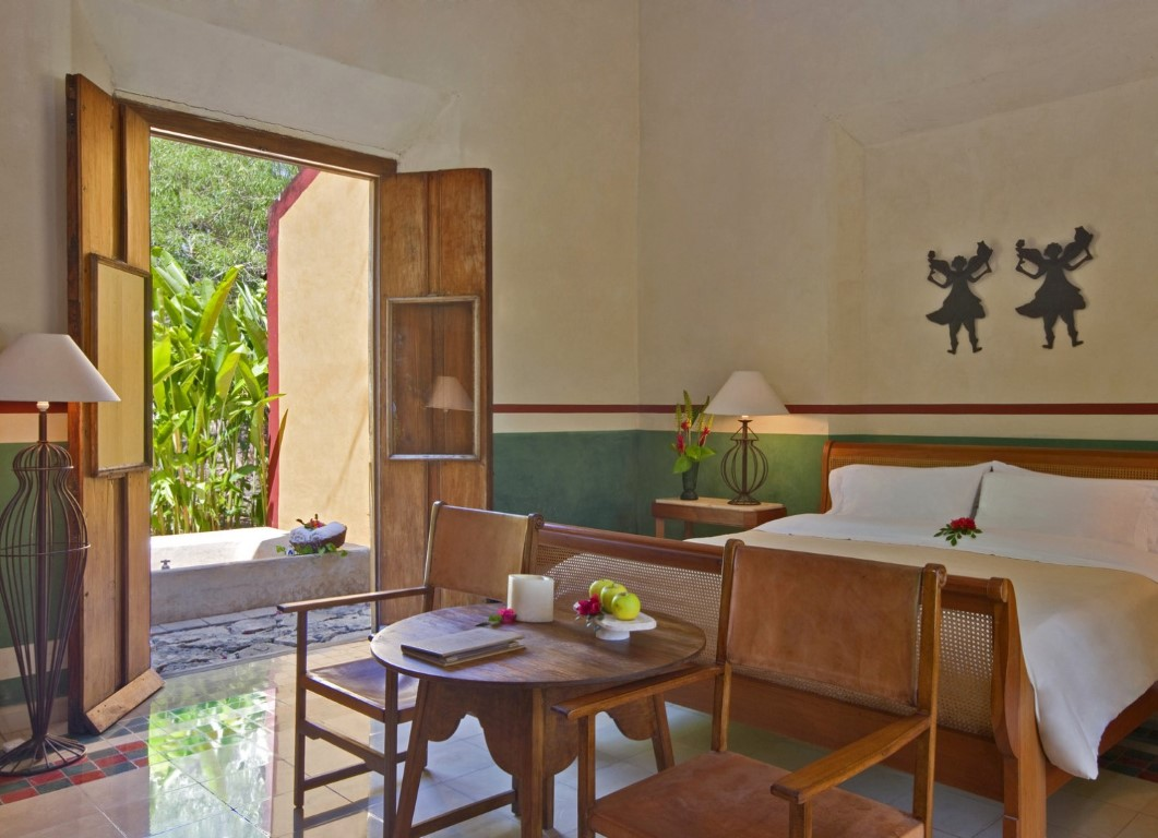 A bedroom at the Hacienda San Jose in the Yucatan Peninsula