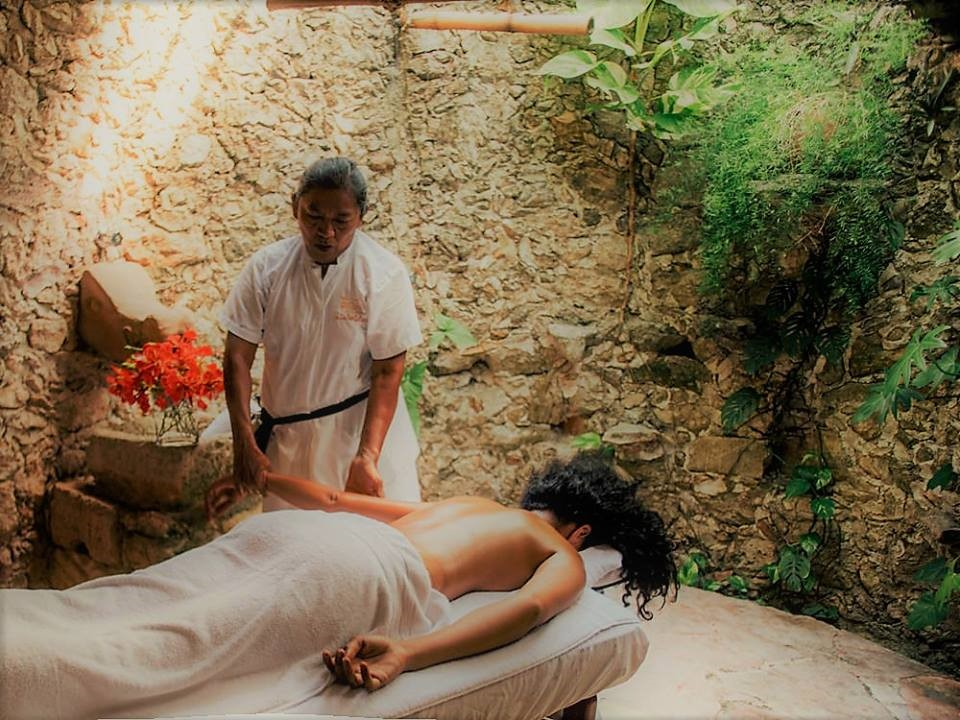 Massage at Dining area of Hacienda Santo Domingo in Izamal