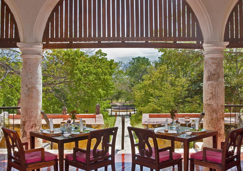 Restaurant terrace at Hacienda Uayamon Campeche