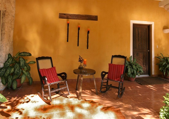 A room terrace at the Hacienda Chichen Itza in the Yucatan Peninsula