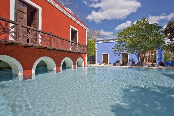 The swimming pool at the Hacienda Santa Rosa in the Yucatan Peninsula