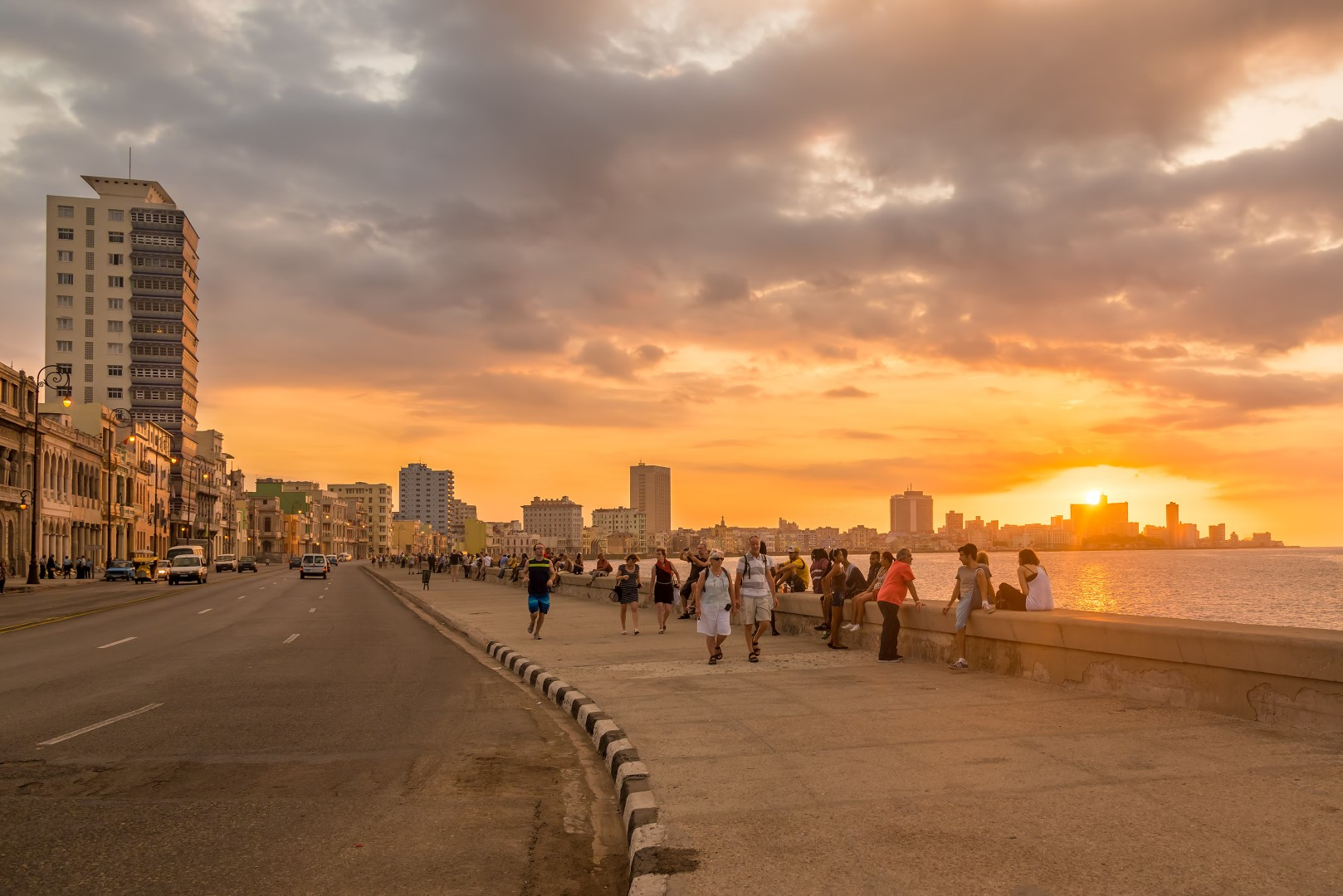 Sunset over the Malecon in Havana, Cuba