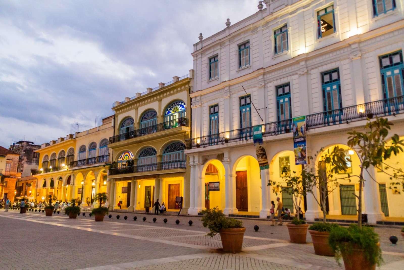 Plaza Vieja in Old Havana at dusk