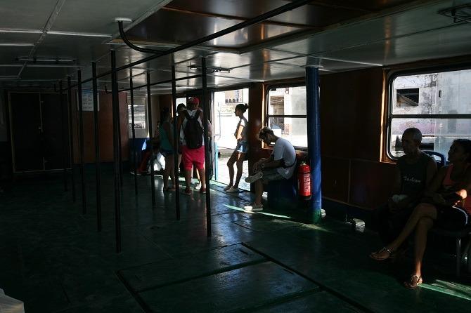 The interior of a Havana ferry