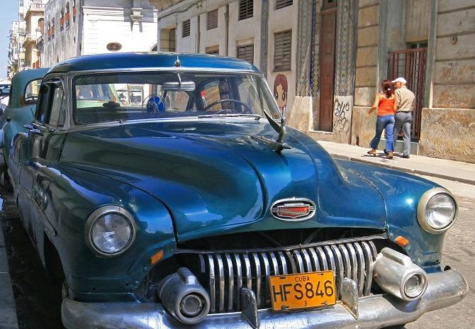 A vintage 1950s American car in Old Havana, Cuba