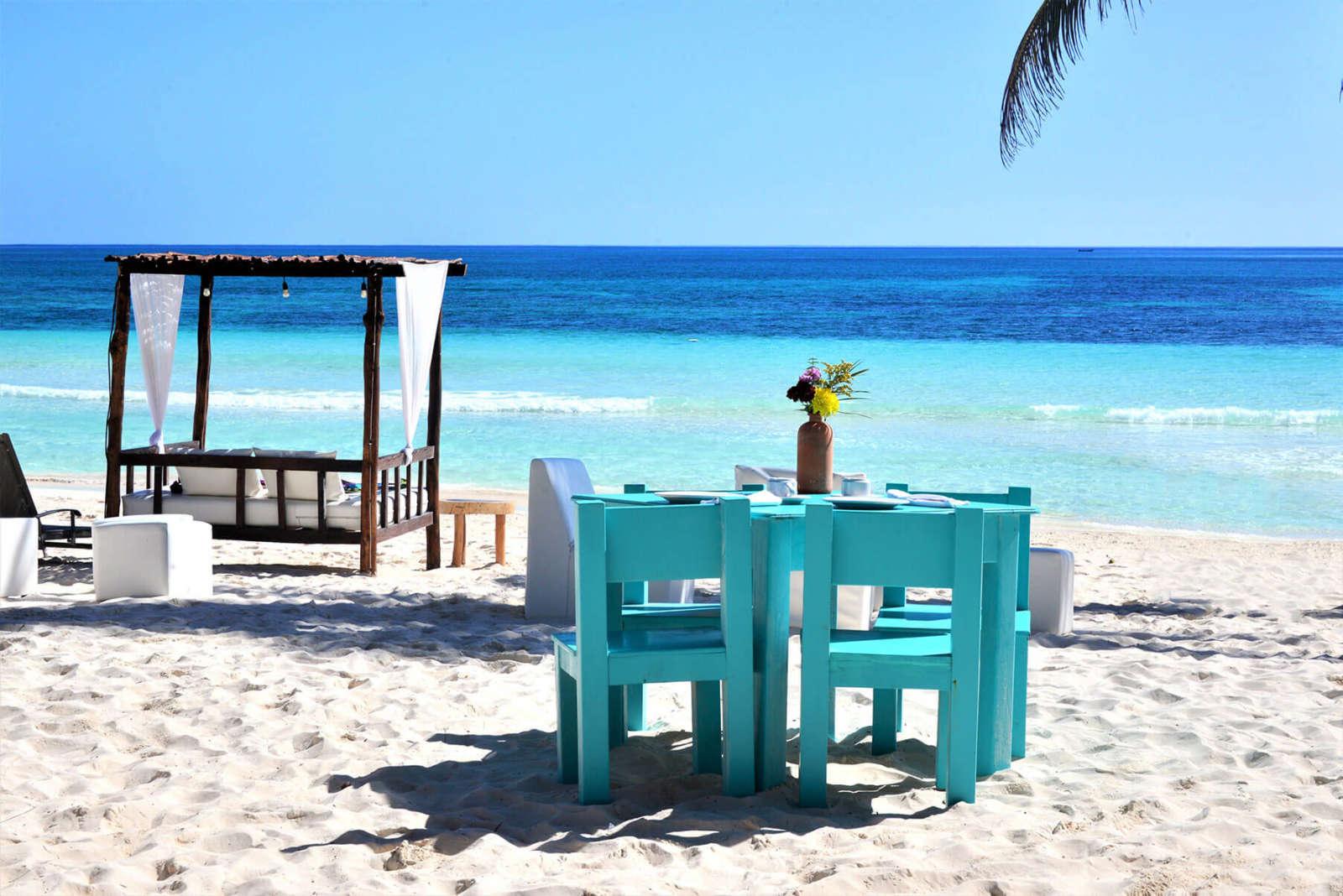 Table on beach at Hip Hotel Tulum