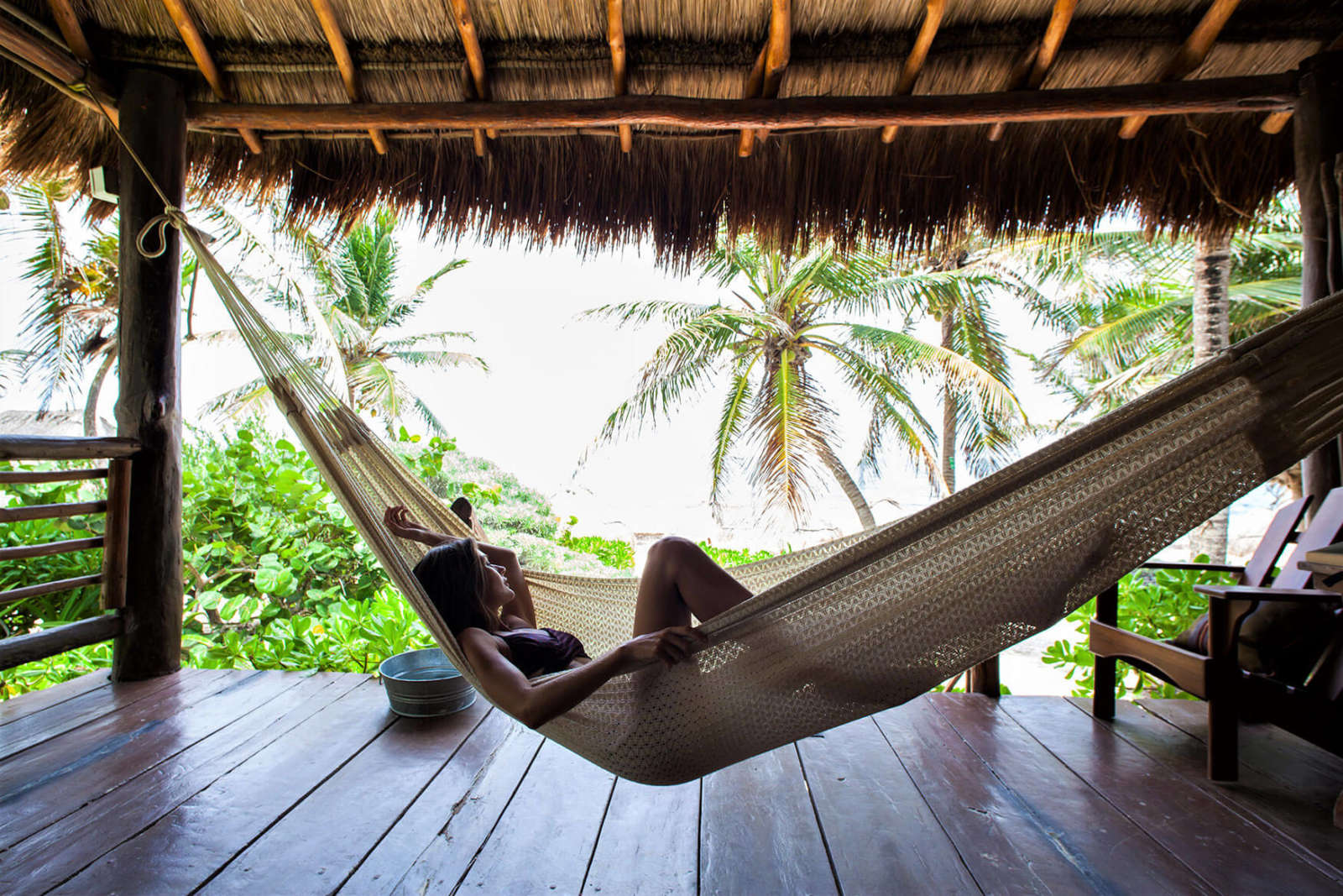 Hammock on balcony of room at Hip Hotel Tulum