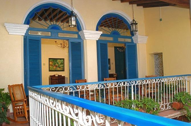 The interior balcony of Hostal del Rijo in Sancti Spiritus, Cuba