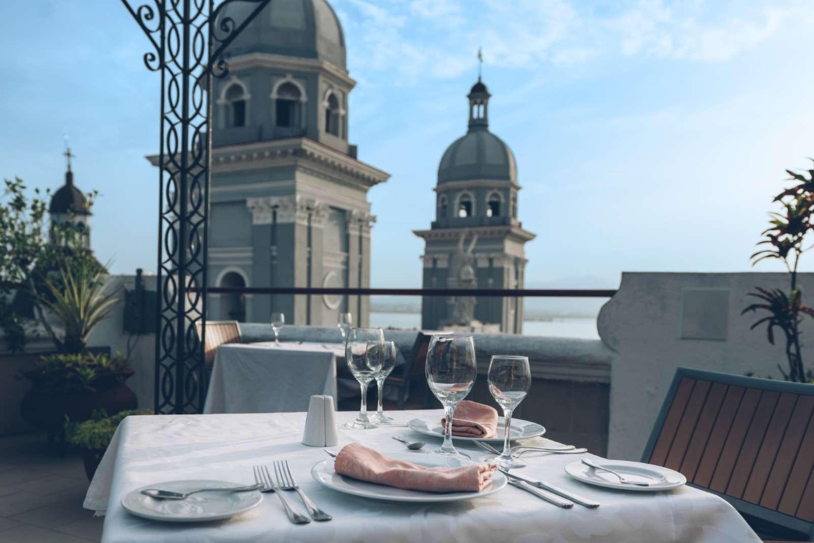 Table setting on roof terrace at Iberostar Casa Granda