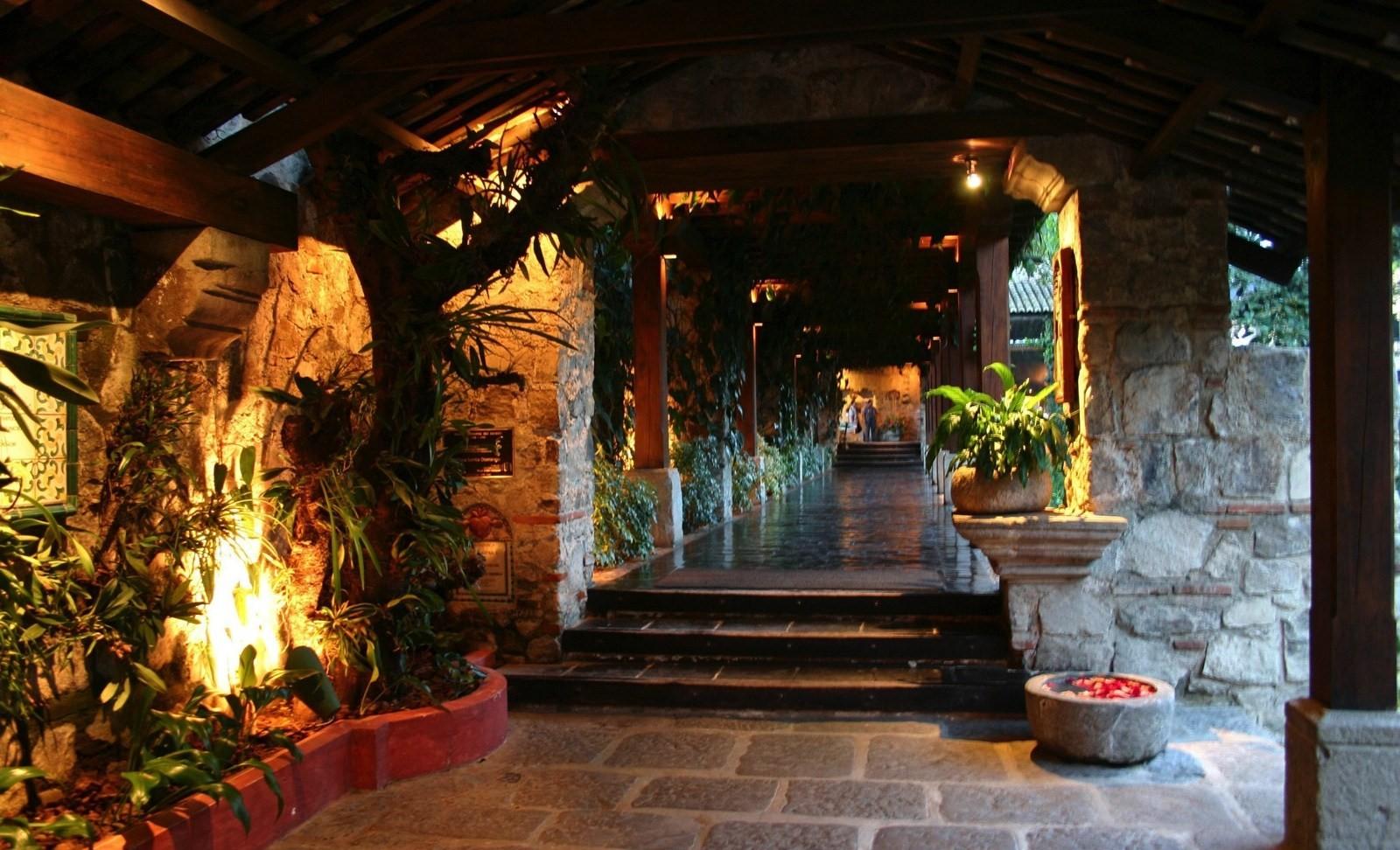 Long corridor at Hotel Casa Santo Domingo in Antigua