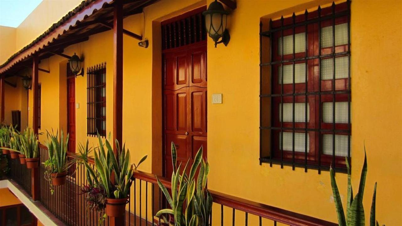 Corridor outside rooms at Hotel Castelmar Campeche
