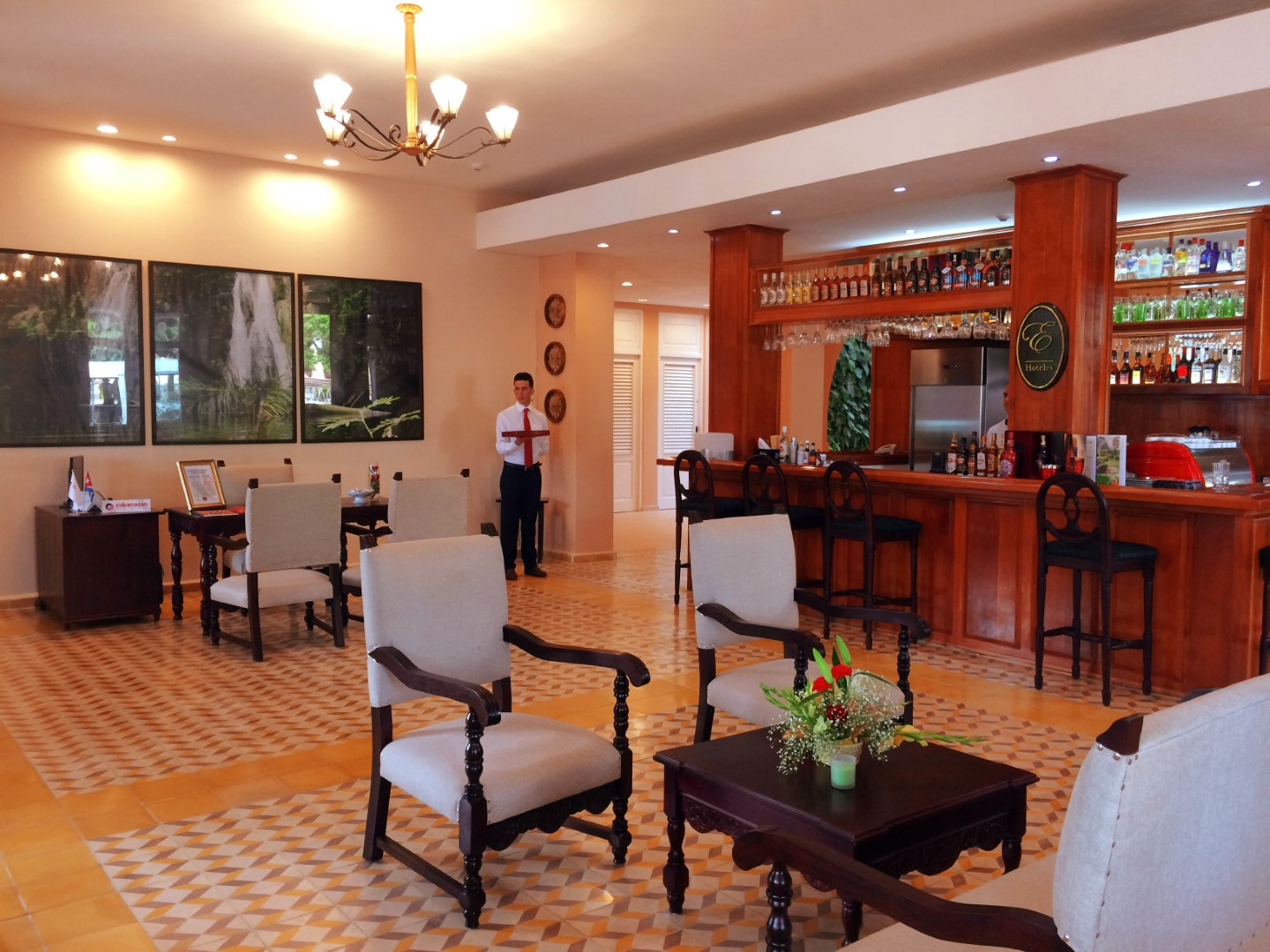Lobby and reception area of Hotel Central in Vinales, Cuba