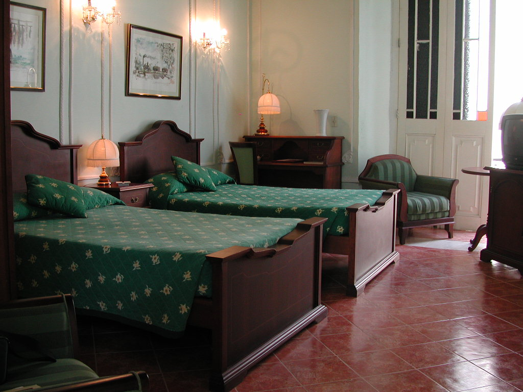 Twin room at the Hotel Conde de Villanueva in Havana, Cuba