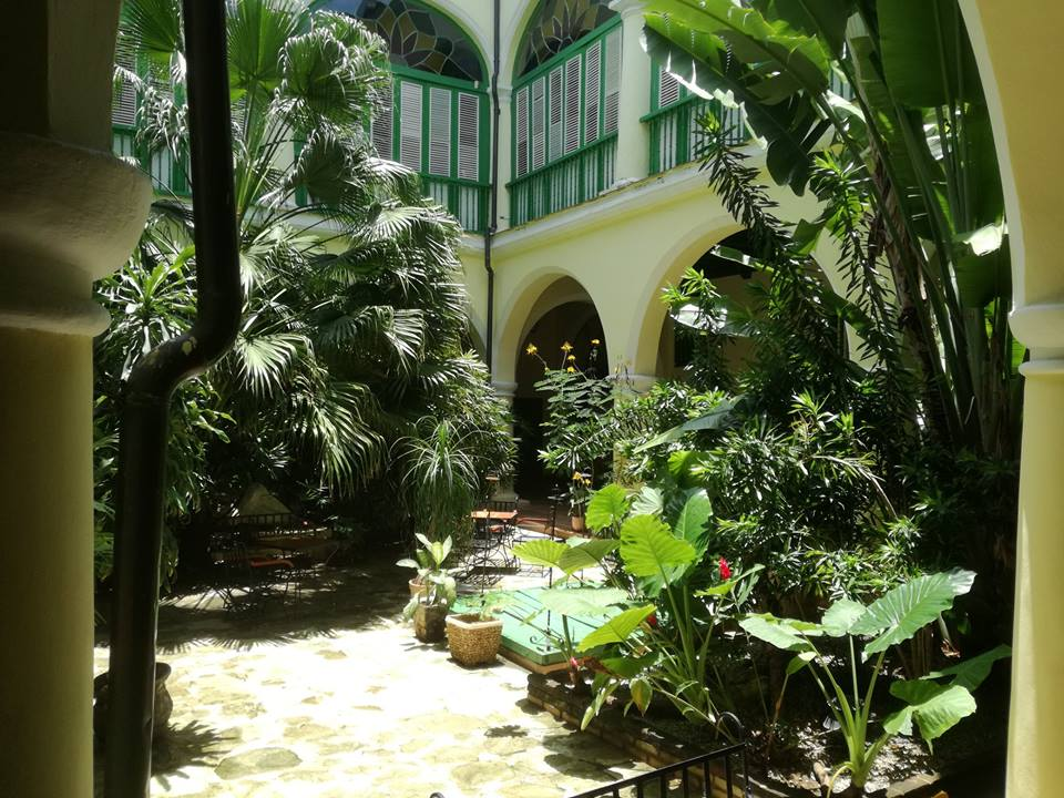 Courtyard at the Hotel Conde de Villanueva in Havana, Cuba