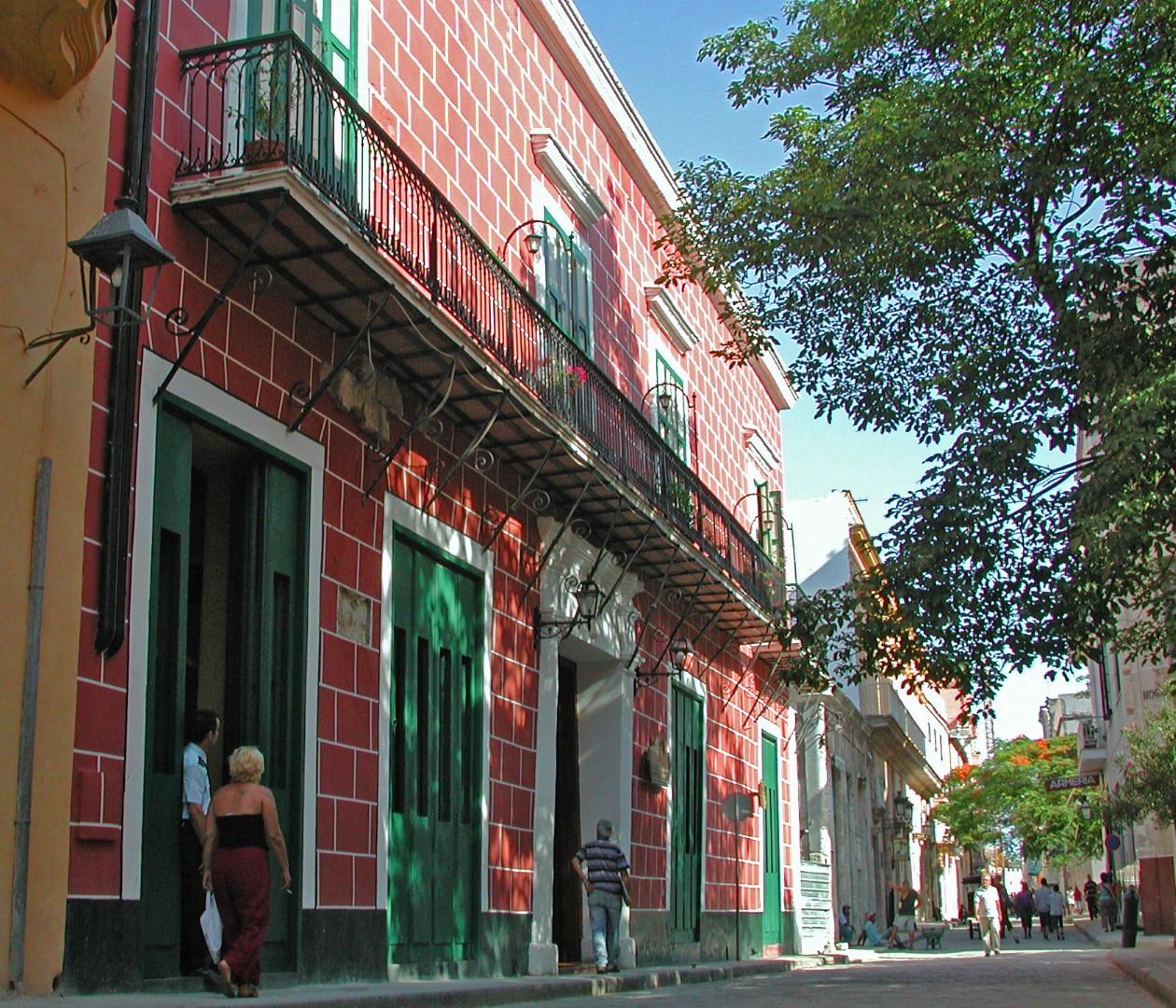 Street view of the Hotel Conde de Villanueva in Havana, Cuba