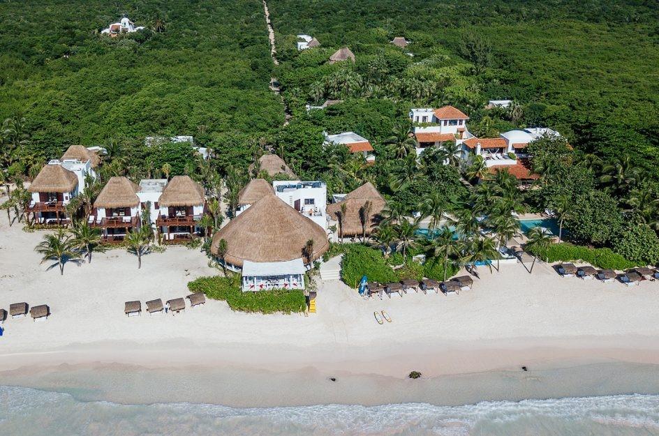 Aerial view of the beach at Hotel Esencia