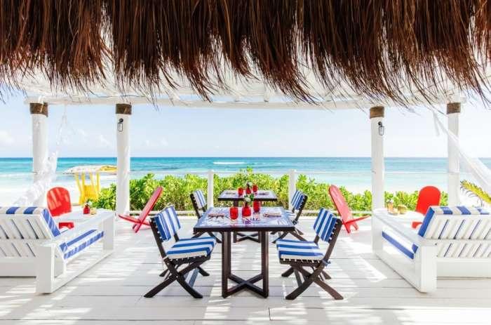 Beach restaurant at Hotel Esencia overlooking the sea
