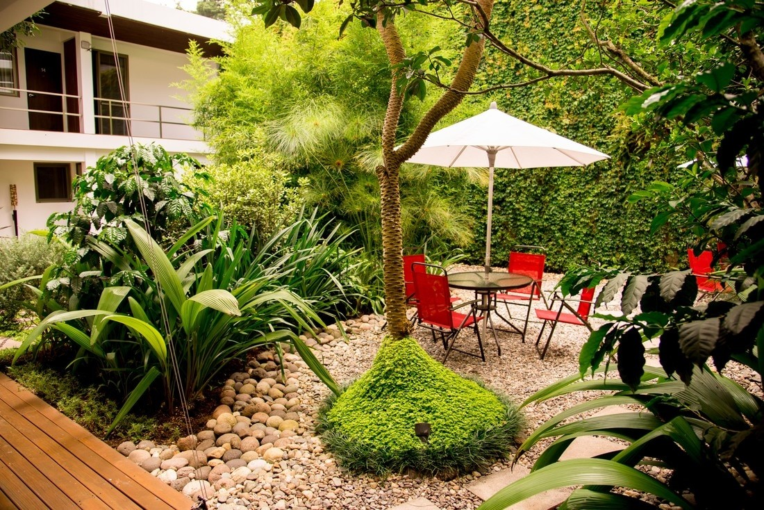 Courtyard seating at Hotel La Inmaculada