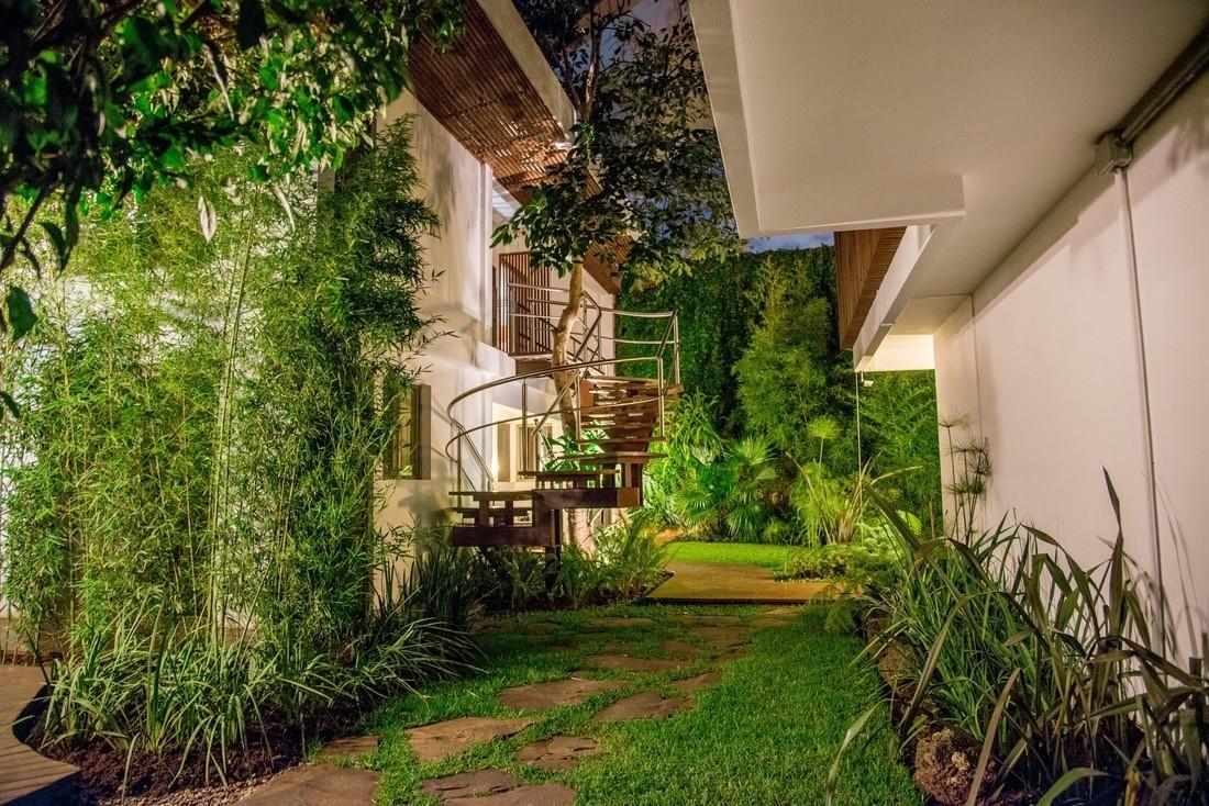 Garden of Hotel La Inmaculada in the evening