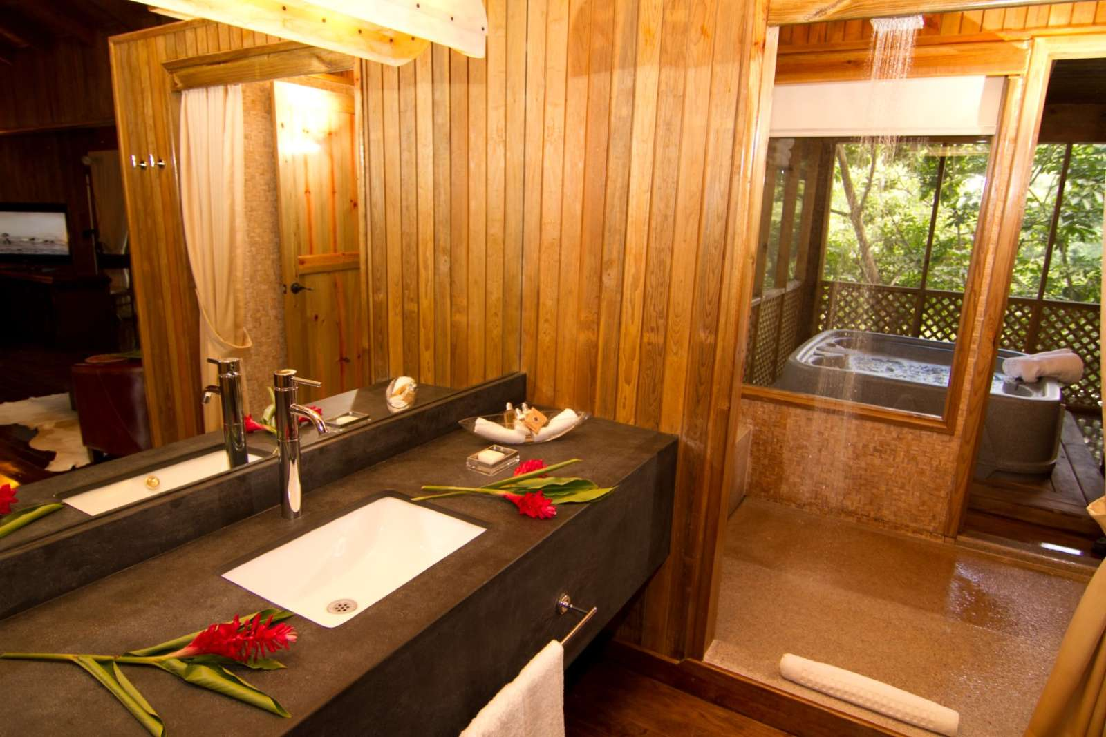 Bathroom and hot tub at Hotel Las Lagunas, Guatemala