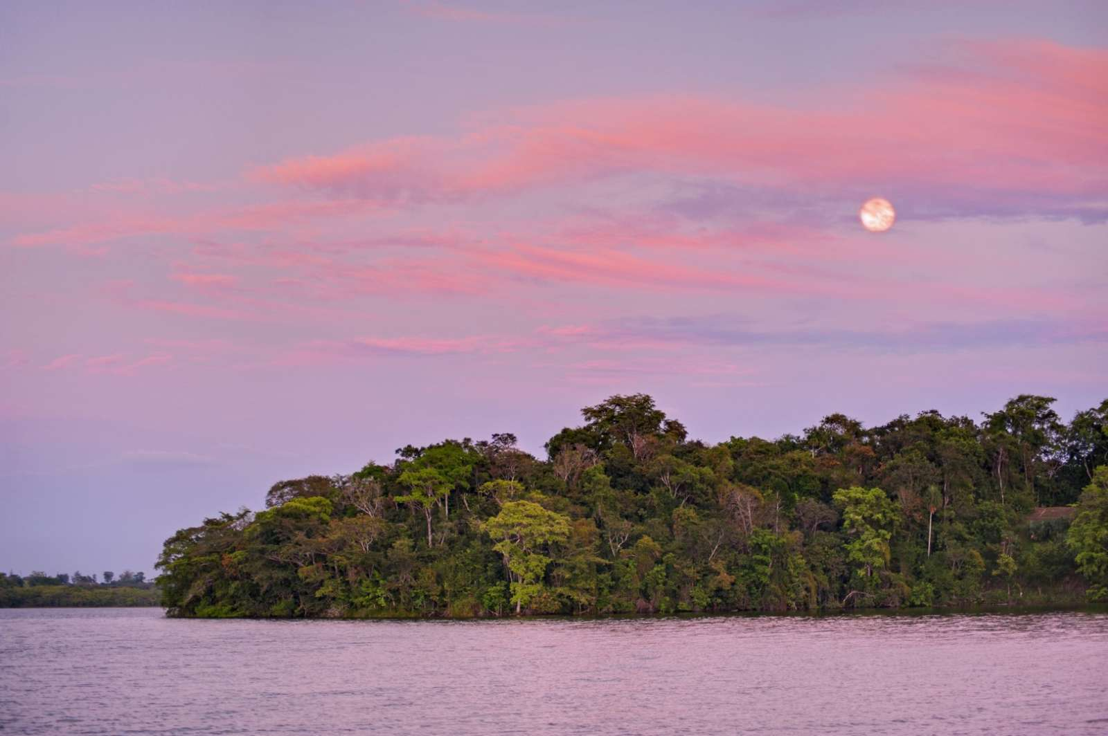 Moon over lake at Hotel Las Lagunas, Guatemala