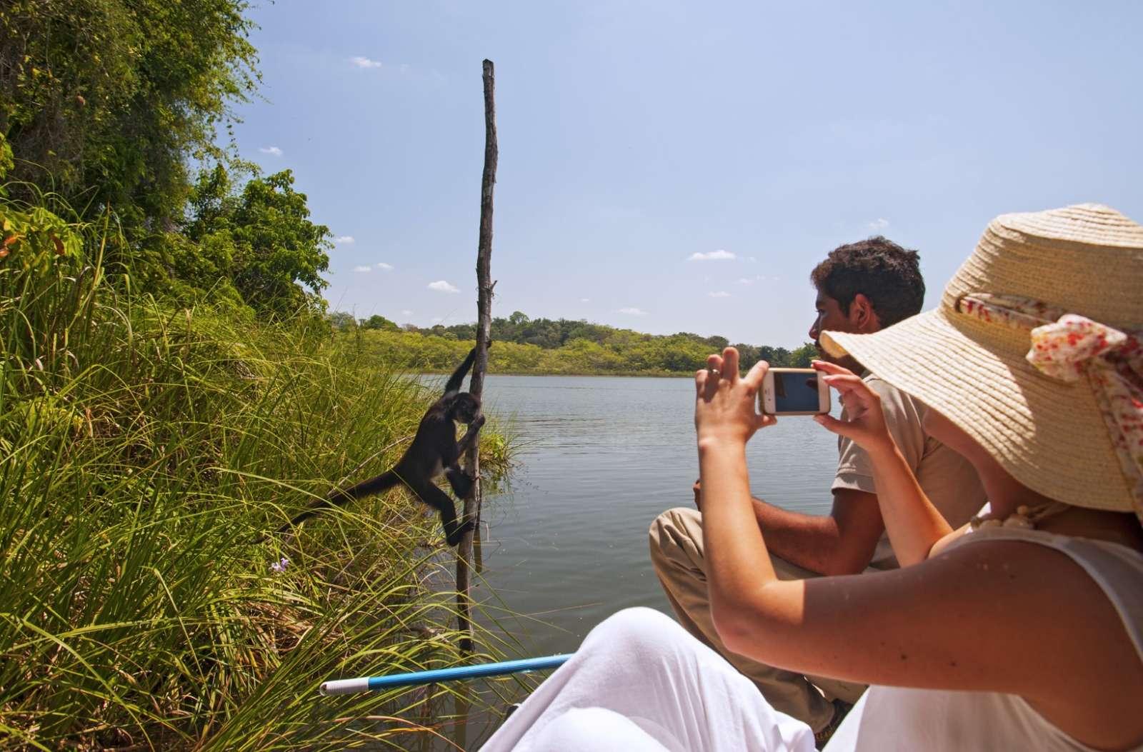 Boat trip to Monkey Island at Hotel Las Lagunas, Guatemala