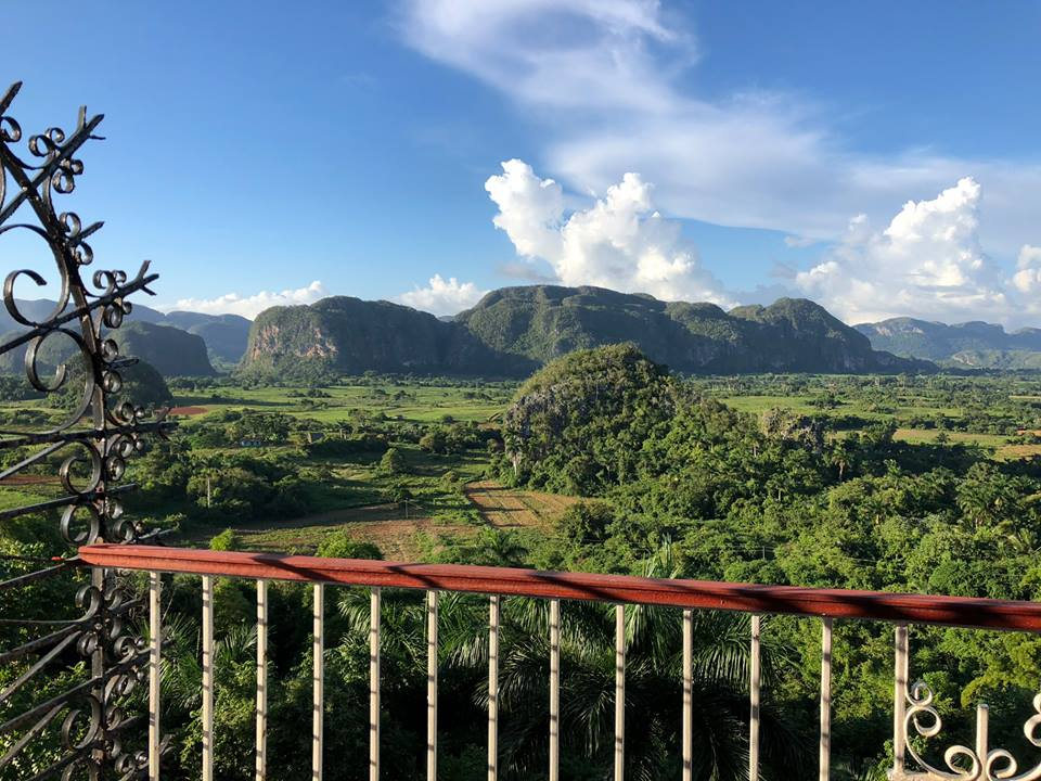 View from room balcony at Hotel Los Jazmines in Vinales, Cuba