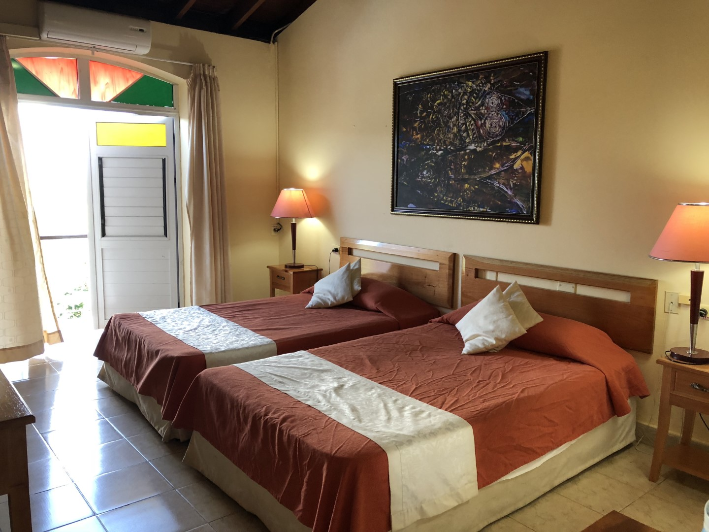 Twin bedded, standard room at Hotel Los Jazmines in Vinales, Cuba