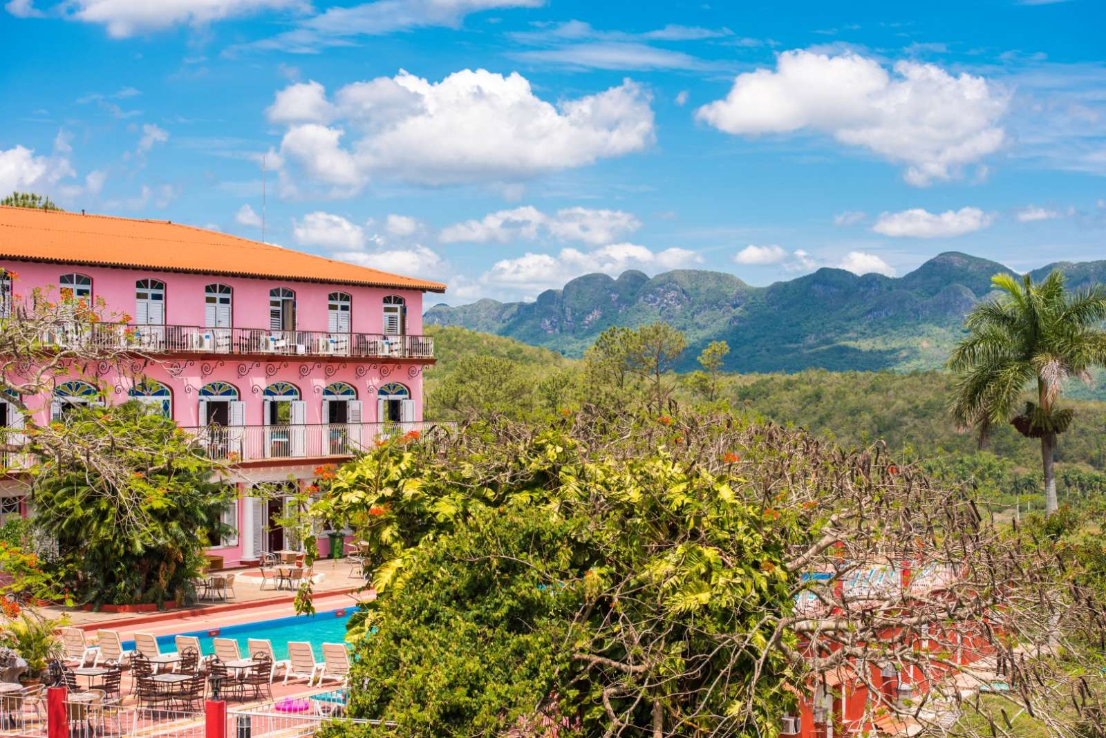 Main building and pool at Hotel Los Jazmines in Vinales, Cuba