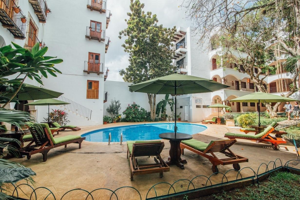 Pool area at Hotel Meson Del Marques