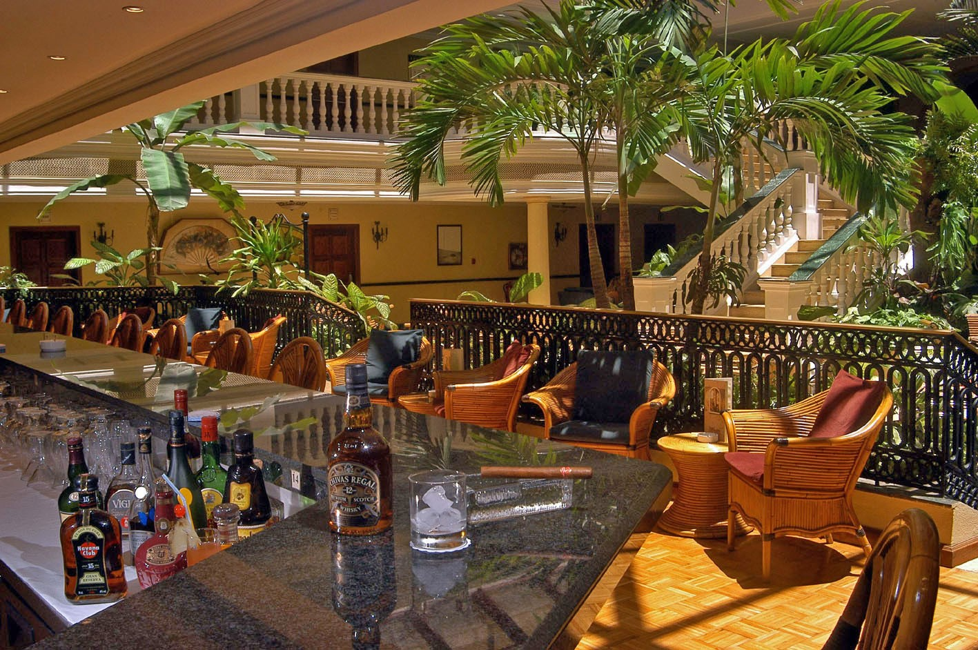 Lobby bar at the Parque Central hotel in Havana, Cuba